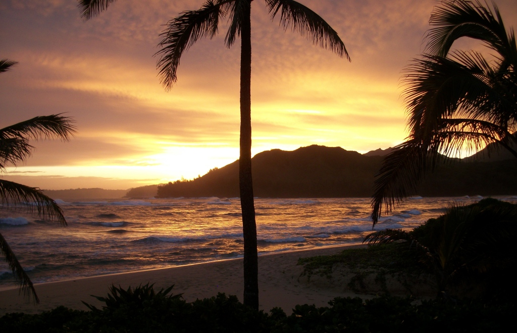 Sunrise over Hanalei.
