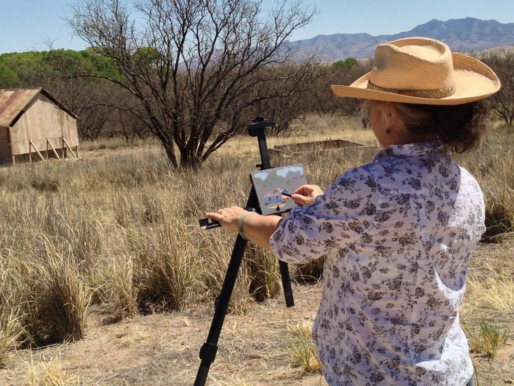 Drawing plein air, the Historic Empire Ranch, Arizona.