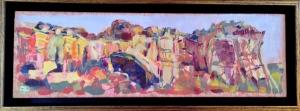 """""""La Ventana""""; Oil on Birch; 4.5 x 12""""; Framed; $250."""