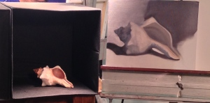 Grisaille (grey underpainting) of shell in oil, by Joy; Classical Painting studies.