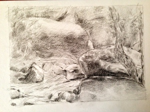 Small pencil drawing in the creek.
